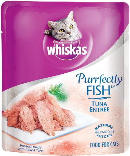 Whiskas Purrfectly Fish Tuna Entree in Natural Juices Food for Cats, 3-Ounce Pouches (Pack of 24)