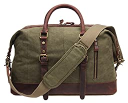 Iblue Large Duffle Luggage Bag Canvas Leather Gym Tote Bag Army Green 21.6 Inch #381 (M, Army green)