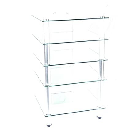 "27"" Glass Flat Panel TV Stand and Audio Shelving (Clear and Silver) (39.5""H x 24""W x 20.25""D)"