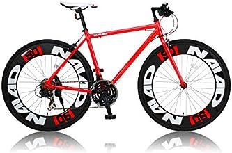 CANOVER(カノーバー) 700×28C アルミフレーム クロスバイク  シマノ21段変速ラピッドファイヤー 極太90mmディープリム LEDライト標準装備 CAC-023 NAIAD(ナイアード) レッド