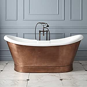 """69"""" Rosalind Acrylic Copper Skirted Tub - 7"""" Rim Holes and Overflow"""