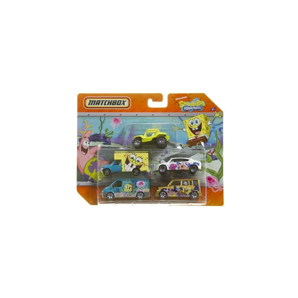 Matchbox 5 Pack Diecast Cars   Spongebob Squarepants (with Dune Buggy)