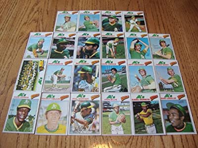 Oakland Athletics 1977 Topps Baseball Team Set (22 Cards) (Vida Blue) (Phil Garner) (Bill North) (Mike Norris) (Claudell Washington) and More