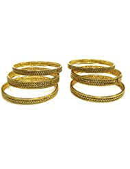 Shingar Jewellery Antique Gold Kada Bangles Set In 2.8 Size For Women (5437-m-2.8-a)