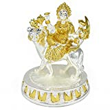 IndiaBuye Gold And Silver Plated Maa Ambe Idol (Size: 14 CM X 11 CM X 11 CM)