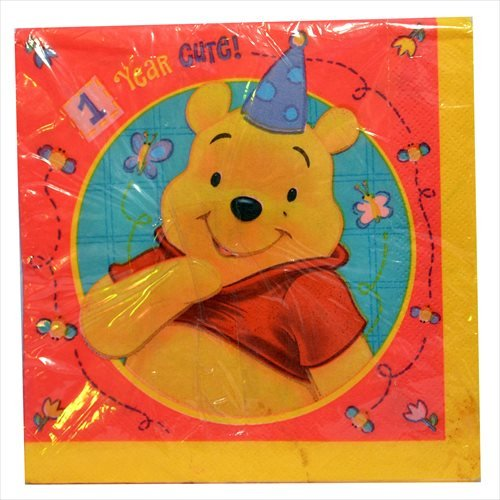 Winnie the Pooh '1 Year Happy' Lunch Napkins (16ct)