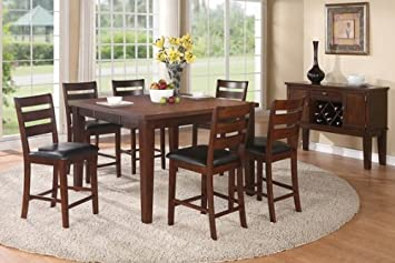 7 pc antique walnut finish wood counter height dining table set with leaf