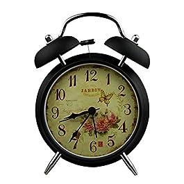 YESURPRISE Réveil matin Enfant Quartz Lumineux Alarme Clock Silencieux Roses papillon Noir
