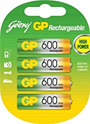 Godrej GP AA 600 NiMH Rechargeable Battery (Pack of 4 )