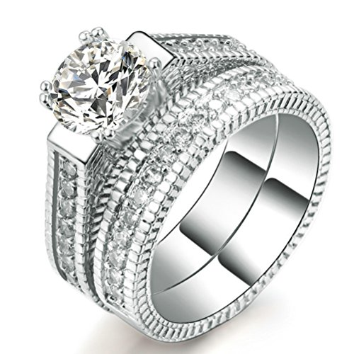 Womens Wedding Engagement Bands Ring Sets 18K White Gold Plated Princess Cut Eternity Solitaire CZ Crystal Best Anniversary Promise Rings Size 9