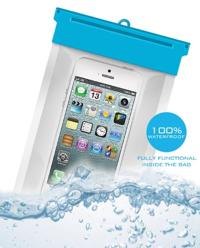 Waterproof Bag For Iphone 4,4S,5,5S,5C-100% Waterproof Double Sealing System-Certified To 10Ft-Limited Discount- Transparent Waterproof Dry Case With Neck Strap - Certified Underwater Pouch Up To 10Ft - Also Fits Itouch, Nokia Lumia, Samsung Galaxy Light/ front-64142