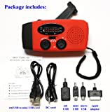 HY-88E Emergency Dynamo Solar Self Powered AM/FM/WB(NOAA) Radio w/ LED Flashlight, Cell Phone Charger w/ USB adaptors and cords