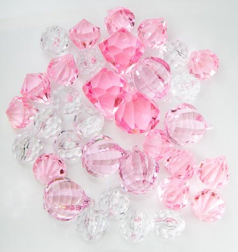 Translucent Clear, & Pink Assorted Shaped Acrylic Gems For Vase Filler, Table Scatters Or Decorations (Pink Vase Filler Gems compare prices)