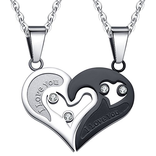 SHINYSO 2PCS Mens Womens CZ Heart-shape