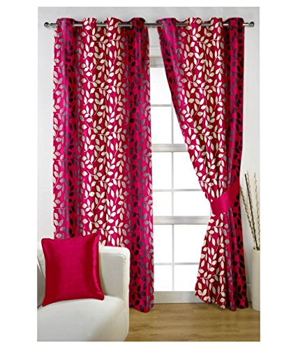 Elegance Pink Floral Window Curtain Set of 3
