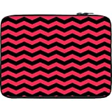 Snoogg Black And Pink Waves 2568 12 To 12.6 Inch Laptop Netbook Notebook Slipcase Sleeve