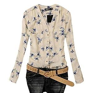 TAORE Women's Elegant Bird Print Blouse Long Sleeve Tee (XXL, White)