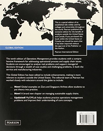 Operations Management:Processes and Supply Chains: Global Edition