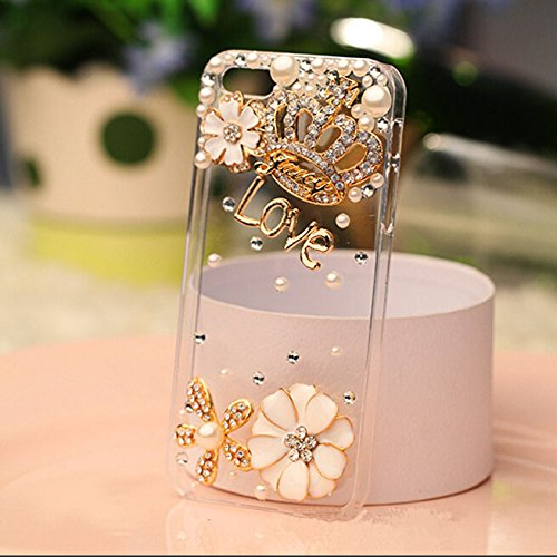 3d Handmade Clear Bling Gold Crown Crystal Rhinestone Diamond Skin Case Cover for iPhone 6 4.7 inch Screen