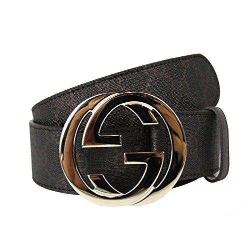 Gucci Brown Supreme Canvas Interlocking G Buckle Belt 114876 8361 (110/44)