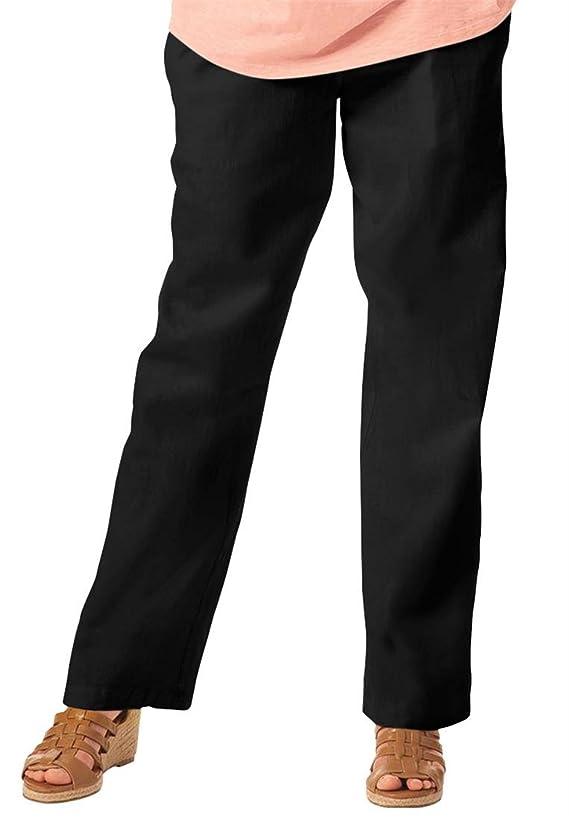 Women's Plus Size Petite Pants In Cool Linen Blend