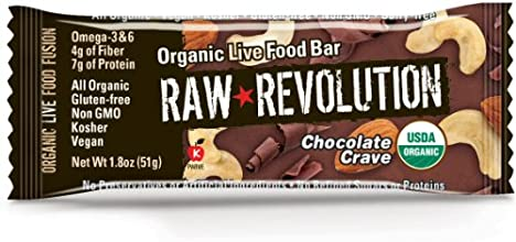 Raw Revolution Organic Live Food Bars Chocolate Crave 18-Ounce Bars Pack of 12