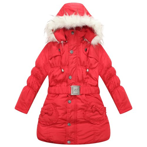 Richie House Girl'S Red Padded Winter Jacket With Pockets, Belt And Fur Hood Rh0785-F-9/10