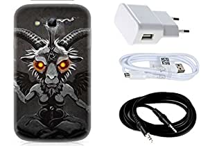 Spygen Samsung Galaxy Grand I9082 Case Combo of Premium Quality Designer Printed 3D Lightweight Slim Matte Finish Hard Case Back Cover + Charger Adapter + High Speed Data Cable + Premium Quality Aux