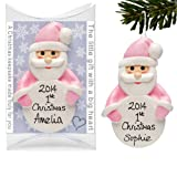 1st Father Christmas Tree Decoration, Personalised Santa, Baby Girl Pink Bauble by Truly for You