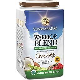 Sunwarrior - Warrior Blend, RAW Plant Based Protein, Chocolate, 40 Servings (2.2 lbs) (FFP)
