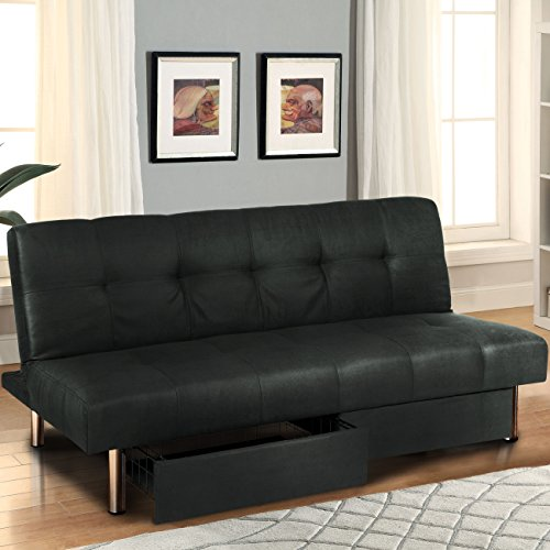 Best Deals! Best Choice Products Microfiber Futon Folding Sofa Bed Couch w/ Mattress & Storage Sleep...