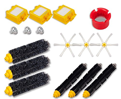 I-clean 3pcs Filters, 3pcs Side Brushes, 3pcs Flexible Beater Brushes, 3pcs Bristle Brushes, 1pc Clean tool (A) For iRobot Roomba 770, 780, 790 Vacuum Cleaner Accessories (Roomba 650 Brush Cleaning Tool compare prices)