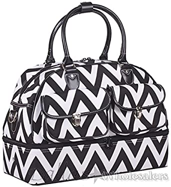 Ever Moda Black Chevron Duffle Bag 17-inch