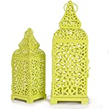 Christmas Metal Cage Set Of 2 Flourescent Green Candle Stand