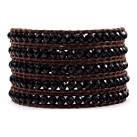 Chan Luu Onyx Wrap Bracelet on Brown Leather