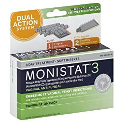 Monistat 3 Vaginal Antifungal Combination Pack, 3 Suppositories with Disposable Applicators and 1 Tube External Cream