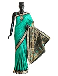 Dark Emarald Green Bomkai Orissa Silk Saree with All-Over Boota with Border and Gorgeous Pallu - Silk