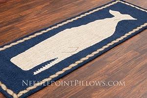 "Handmade 100% Wool Nautical Nantucket Whale Moby Dick Blue Hooked Hallway Runner Rug. 2' 6"" x 8'."