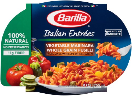 Barilla Vegetable Marinara Whole Grain Fusilli Italian Entree, 9 Ounce Microwavable Bowls (Pack Of 6)