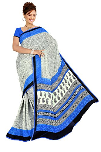 Varsha Sarees Women's Synthetic Georgette Unstitched White Colored Geometric Print Saree_3845b