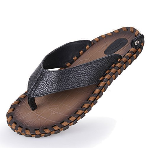 Autumn Melody Fashion Handmade Sandals Genuine Leather Personality Men Flip-flops Size 8.5 US Black