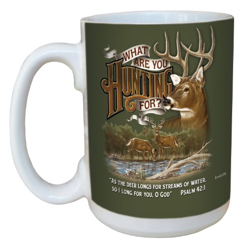 Tree-Free Greetings Lm44208 Deer Hunter On Green: Psalm 42:1 Ceramic Mug With Full-Sized Handle, 15-Ounce