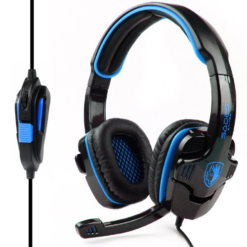 SADES SA-708 Stereo Gaming Headphone Headset with Microphone (Blue)