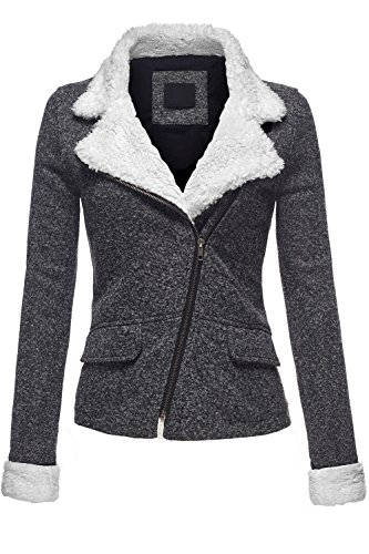 Slim Fit Faux Fur Collar 2Tone Melange Fleece Knit Jackets,047-Black,Large (Quilted Thermal Jacket compare prices)