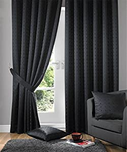 """Jacquard Check Black 90x90"""" 229x229cm Lined Pencil Pleat Curtains Drapes by Curtains"""