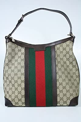 Gucci Handbags Beige, Red, Green Fabric and Dark Brown Leather 257084