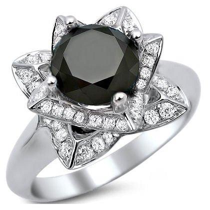 55ct Black Round Diamond Lotus Flower Engagement Ring 14K White ...