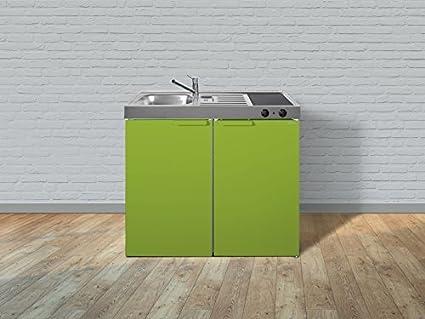 Stengel Minikuche Single Kuche 100cm Metall mit Becken rechts MK100 grun Glanz