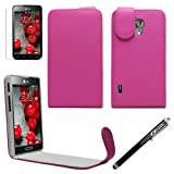 Sleek Gadgets® - Pink Leather Flip Case Cover with Screen Protector & Black Stylus Pen for LG Optimus L7 II P710