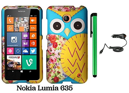 Nokia Lumia 635 (Us Carrier: T-Mobile, Metropcs, And At&T) Premium Pretty Design Protector Cover Case + Car Charger + 1 Of New Assorted Color Metal Stylus Touch Screen Pen (Blue Floral Owl)